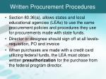 written procurement procedures1