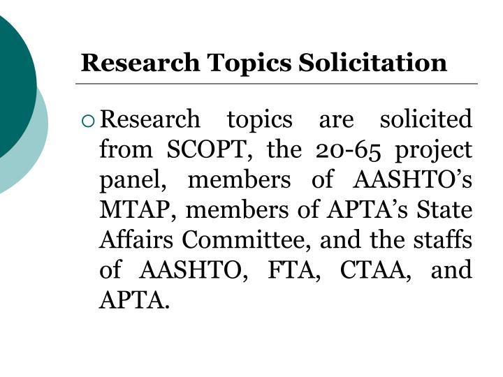 Research Topics Solicitation