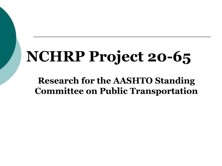 NCHRP Project 20-65