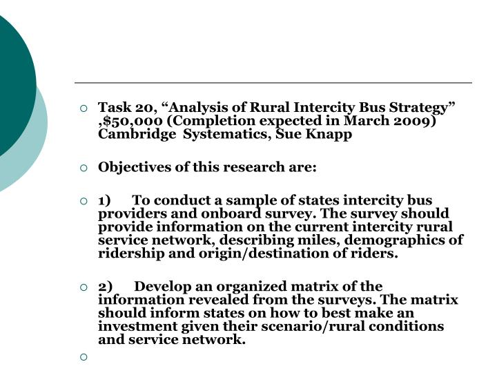 "Task 20, ""Analysis of Rural Intercity Bus Strategy"" ,$50,000 (Completion expected in March 2009) Cambridge  Systematics, Sue Knapp"