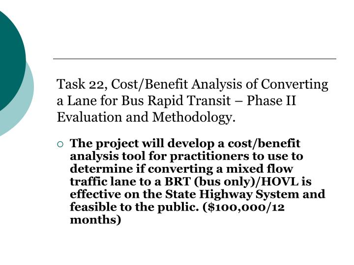 Task 22, Cost/Benefit Analysis of Converting a Lane for Bus Rapid Transit – Phase II Evaluation and Methodology.