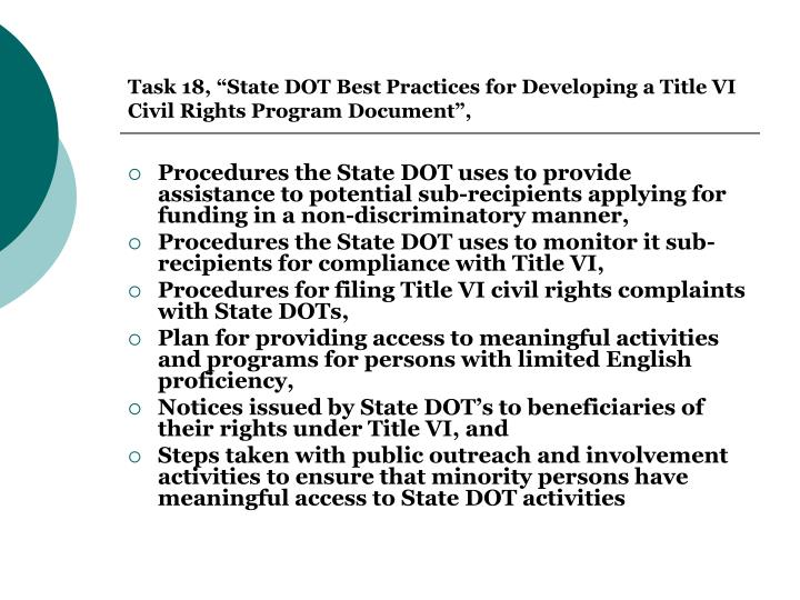 "Task 18, ""State DOT Best Practices for Developing a Title VI Civil Rights Program Document"","