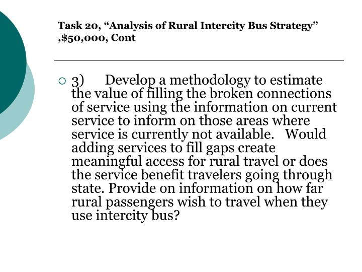 "Task 20, ""Analysis of Rural Intercity Bus Strategy"" ,$50,000, Cont"