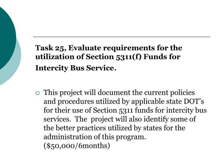 Task 25, Evaluate requirements for the utilization of Section 5311(f) Funds for Intercity Bus Service