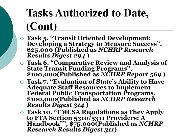 Tasks Authorized to Date, (Cont)