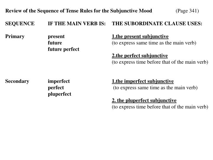 Review of the Sequence of Tense Rules for the Subjunctive Mood