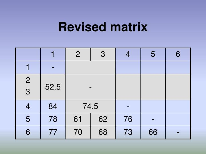Revised matrix
