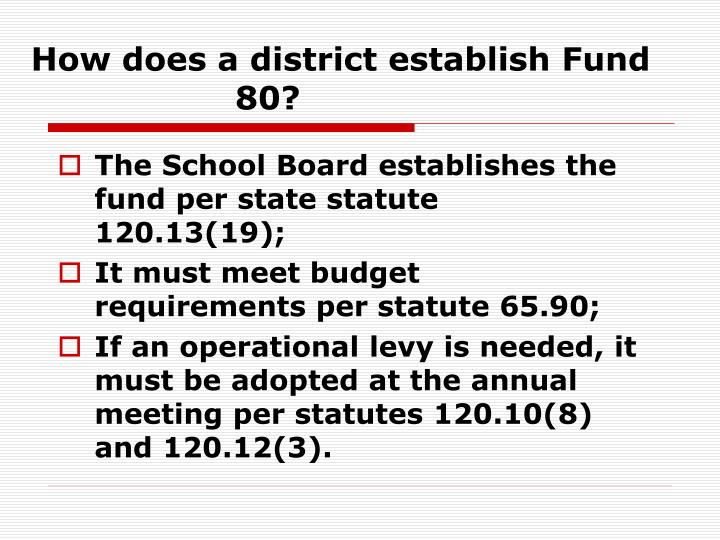 How does a district establish Fund 80?