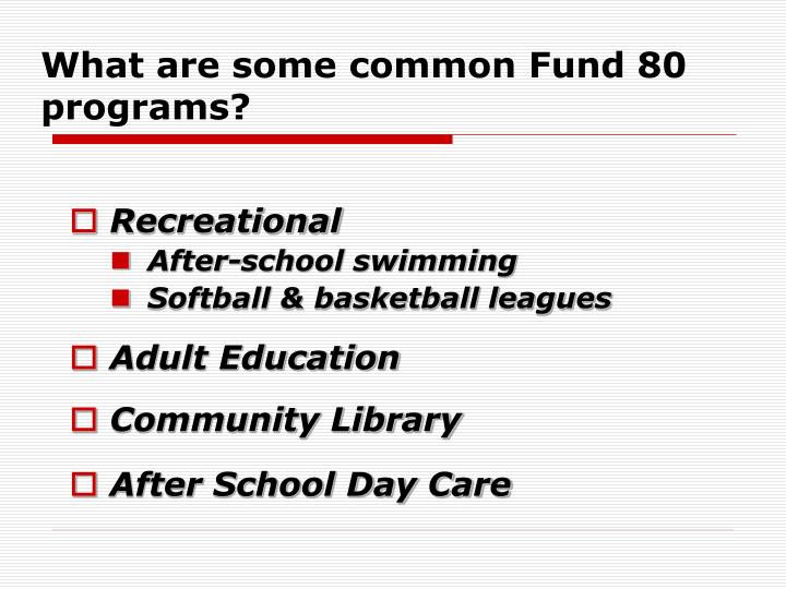 What are some common Fund 80 programs?