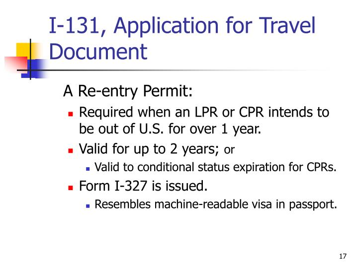 I-131, Application for Travel Document