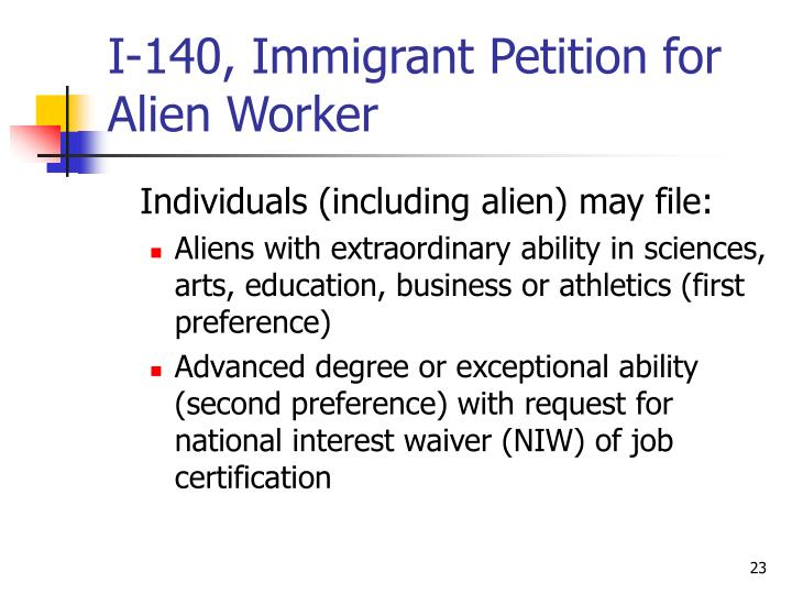 I-140, Immigrant Petition for Alien Worker