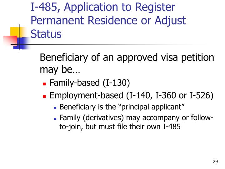 I-485, Application to Register Permanent Residence or Adjust Status