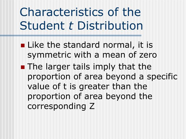 Characteristics of the Student