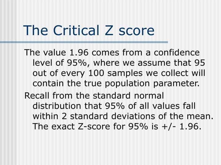 The Critical Z score