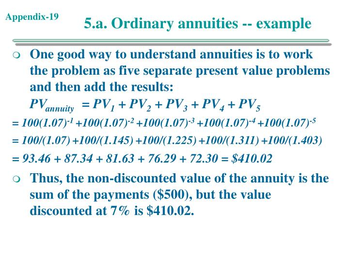 5.a. Ordinary annuities -- example