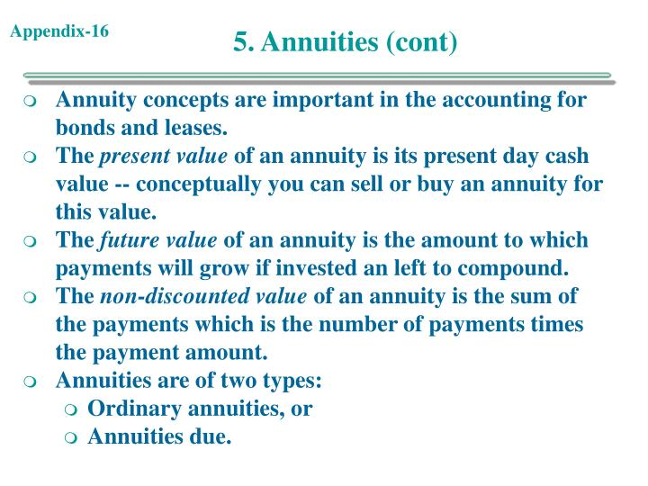 5. Annuities (cont)