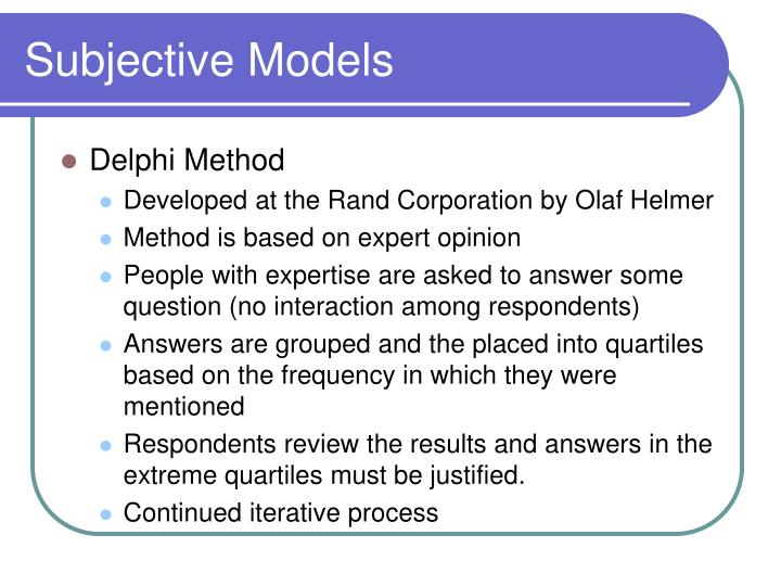 Subjective models