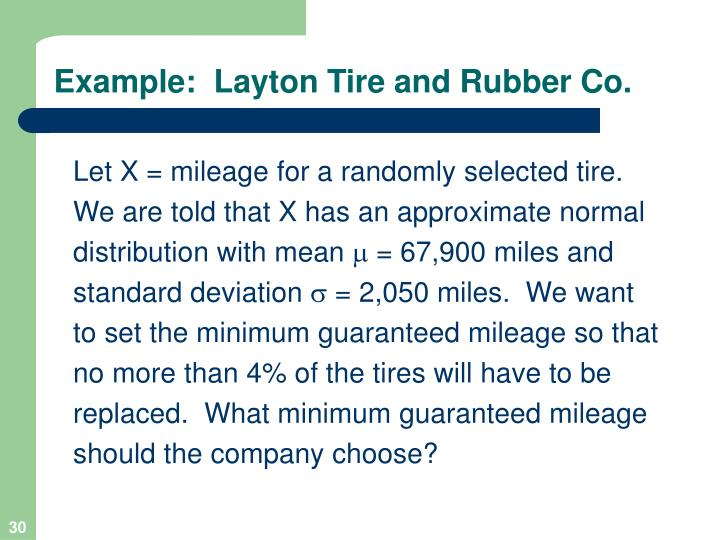 Example:  Layton Tire and Rubber Co.