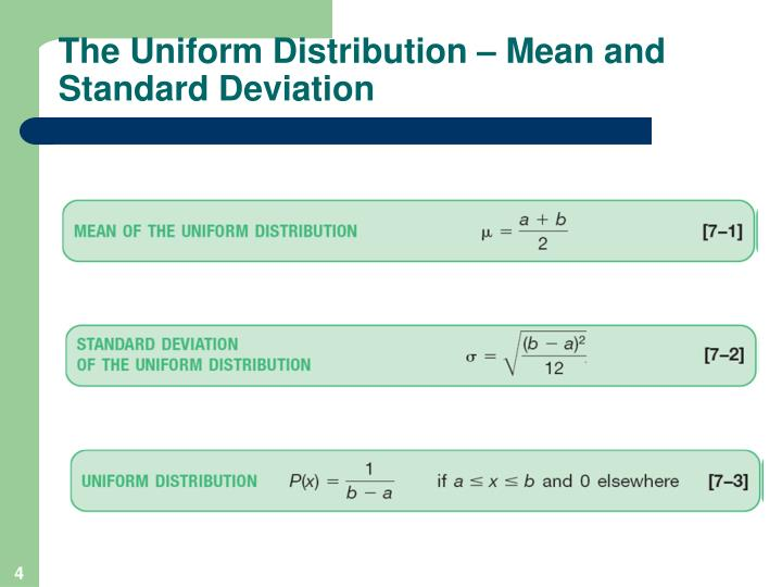 The Uniform Distribution – Mean and Standard Deviation
