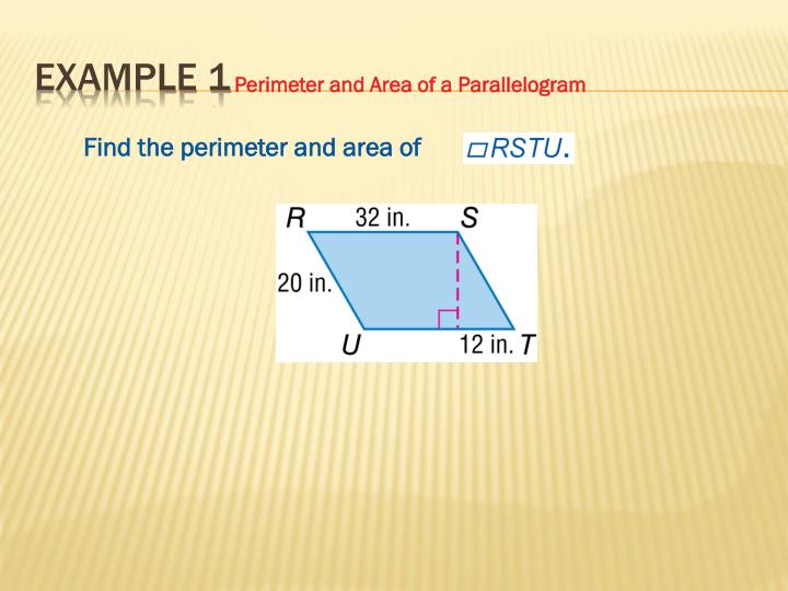 Find the perimeter and area of