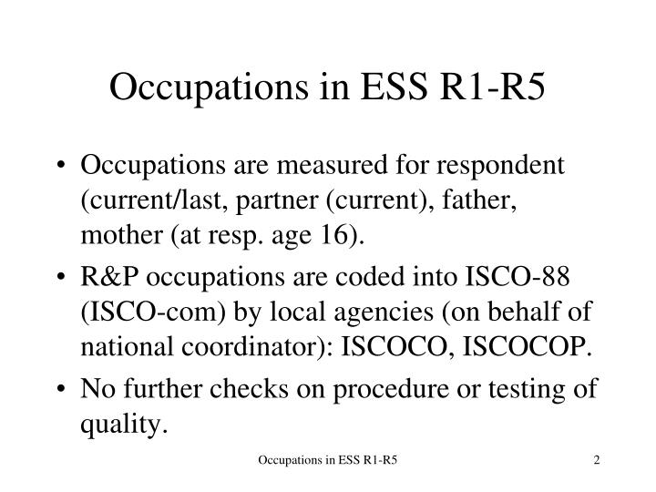 Occupations in ESS R1-R5