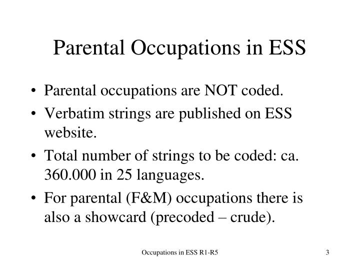 Parental occupations in ess