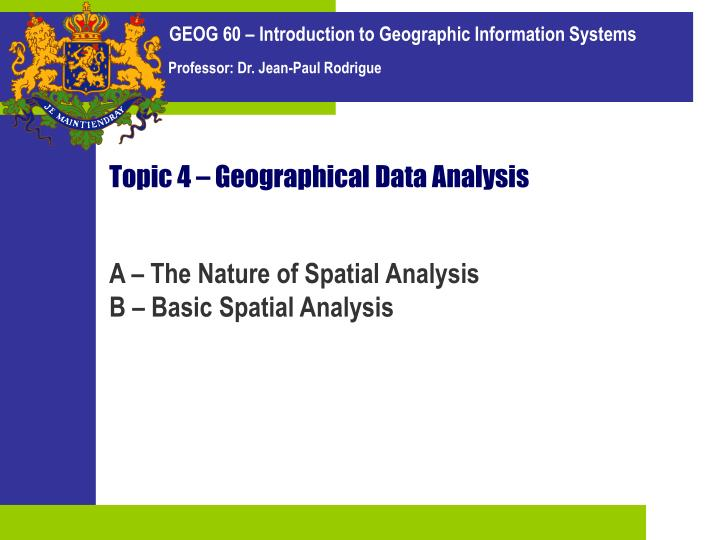 Topic 4 geographical data analysis