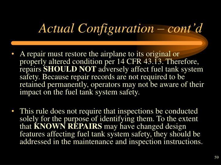 Actual Configuration – cont'd