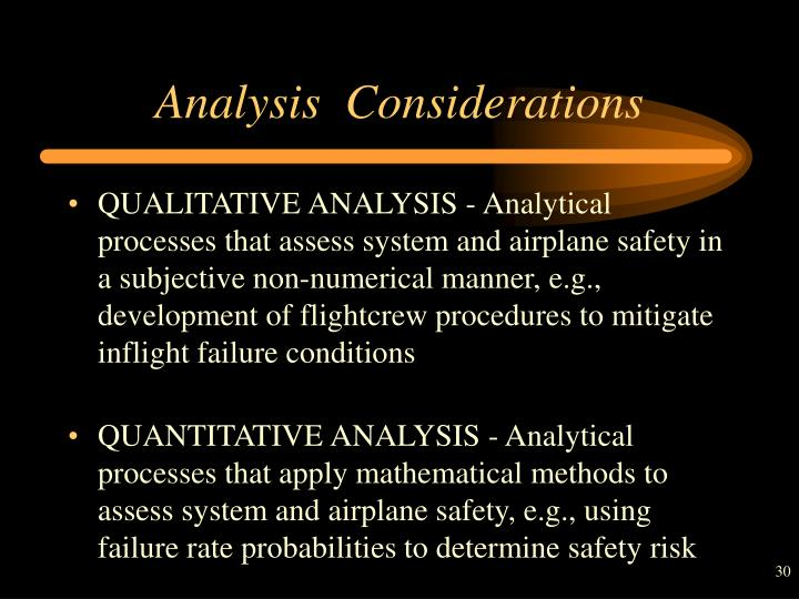 Analysis  Considerations