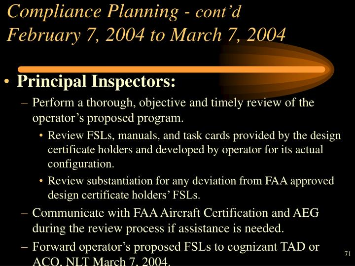 Compliance Planning -