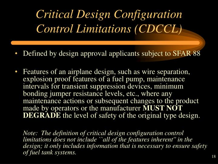 Critical Design Configuration Control Limitations (CDCCL)
