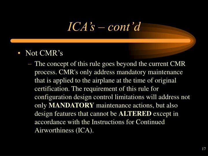 ICA's – cont'd
