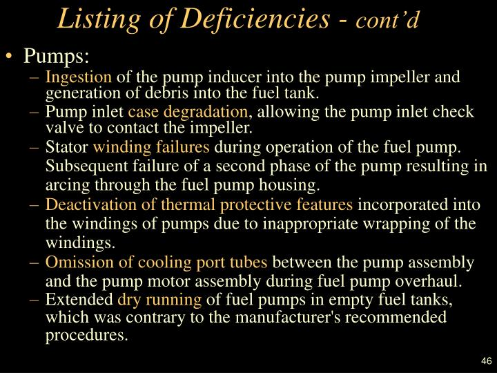 Listing of Deficiencies -