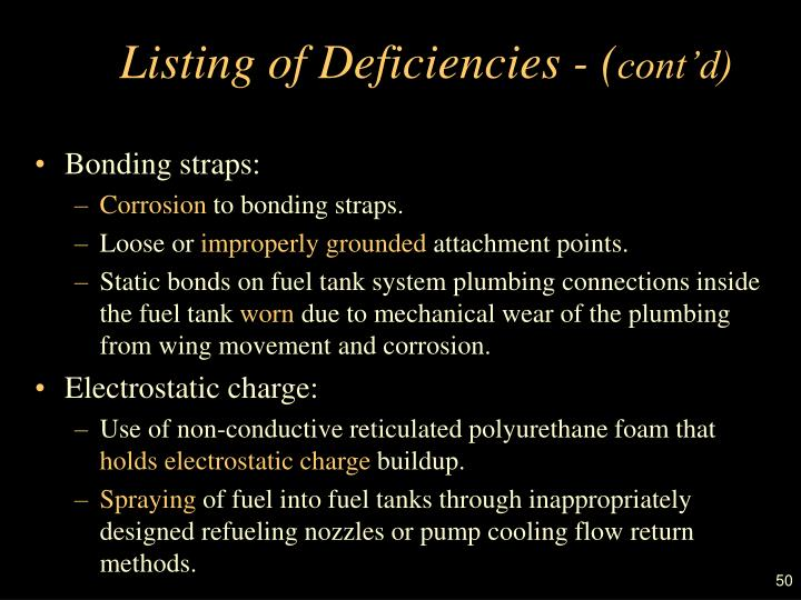 Listing of Deficiencies - (