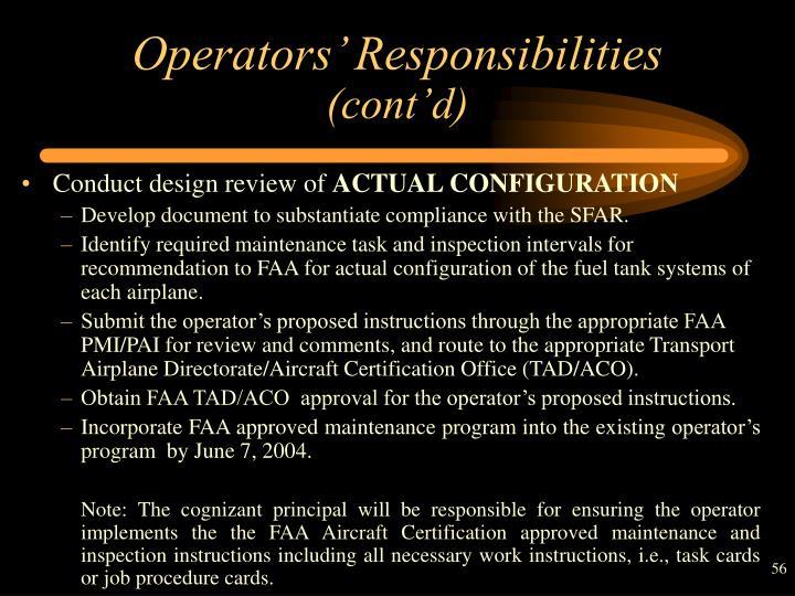 Operators' Responsibilities