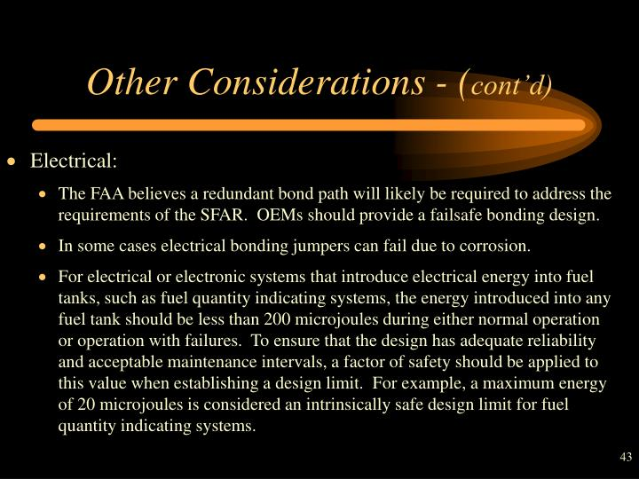 Other Considerations - (