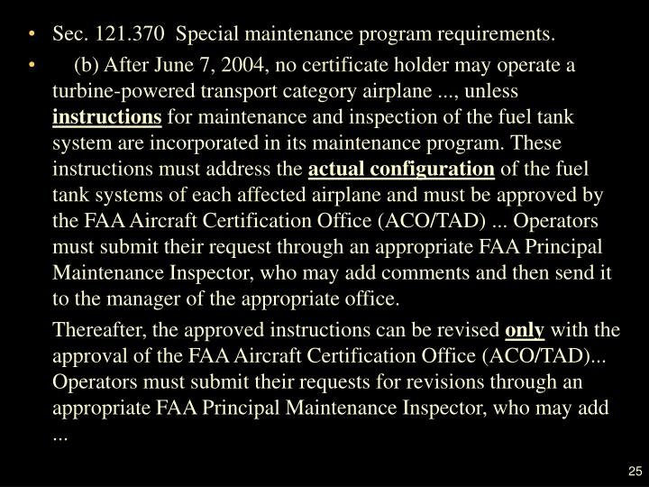 Sec. 121.370  Special maintenance program requirements.