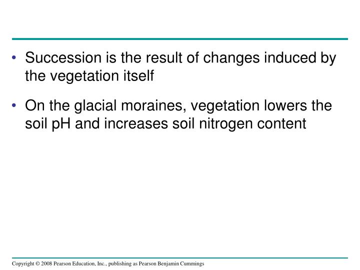 Succession is the result of changes induced by the vegetation itself