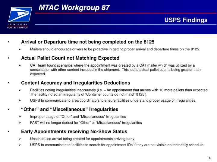 USPS Findings