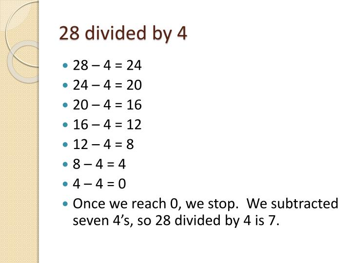 28 divided by 4