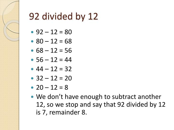 92 divided by 12