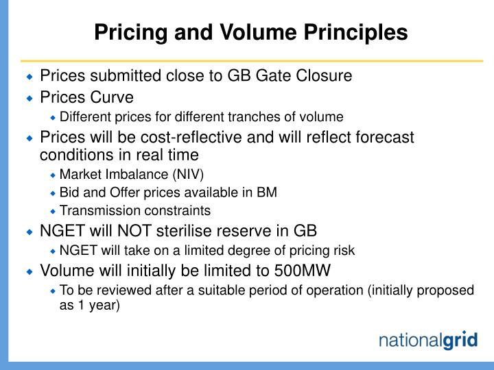 Pricing and Volume Principles
