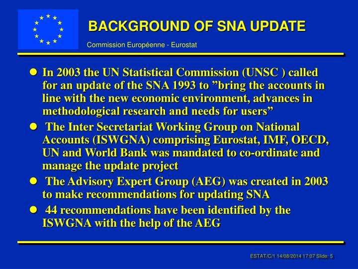 BACKGROUND OF SNA UPDATE