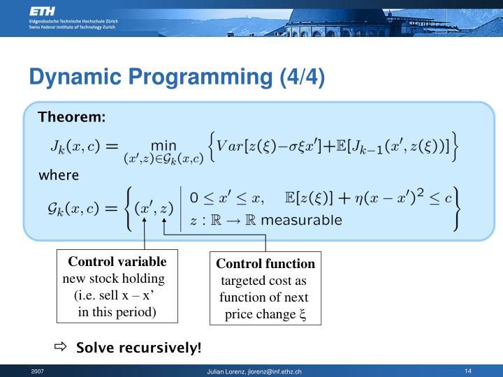 Dynamic Programming (4/4)