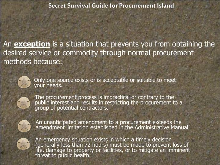 Secret Survival Guide for Procurement Island