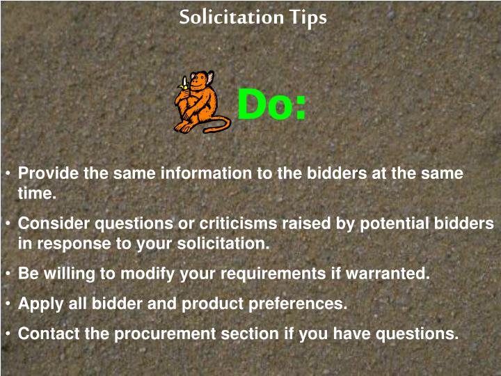 Solicitation Tips