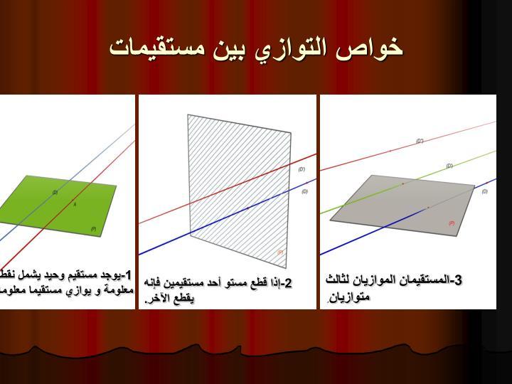 خواص التوازي بين مستقيمات