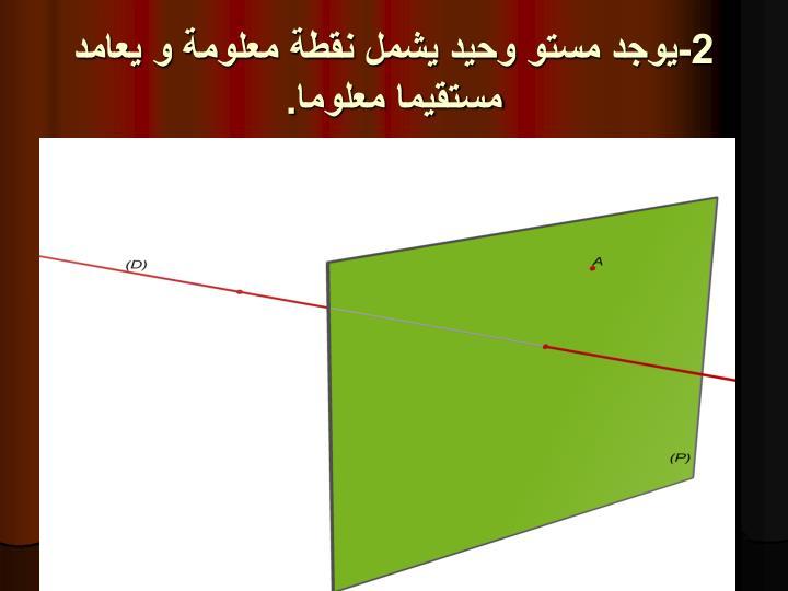2-يوجد مستو وحيد يشمل نقطة معلومة و يعامد مستقيما معلوما.