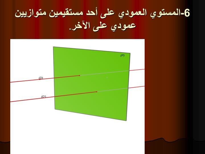 6-المستوي العمودي على أحد مستقيمين متوازيين عمودي على اﻵخر