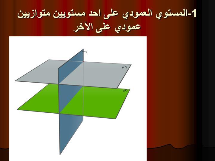 1-المستوي العمودي على احد مستويين متوازيين عمودي على اﻵخر